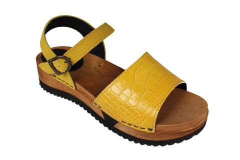 Sanita Rhoda Flex Yellow Embossed Leather and Suede