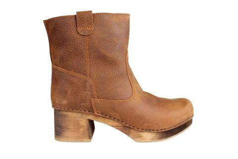 Lotta's Sara Clog Boot in Cognac Soft Oil Leather