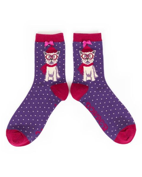 Powder Winter Westie Bamboo Ankle Sock in Purple