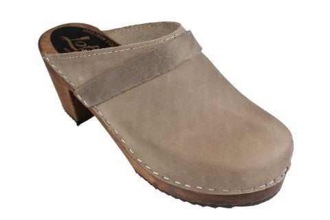 High Heel Classic Clog in Taupe Oiled Nubuck on Brown Base with Strap Seconds