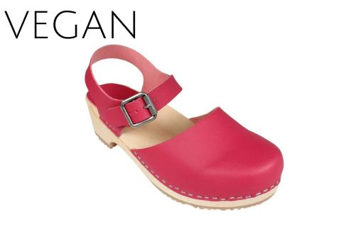 Vegan Greta Low Wood Clogs Pink Vegan Leather
