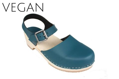 Vegan Greta Low Wood Clogs Teal Vegan Leather
