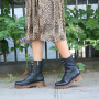 Clarisse Long Lace-up Chelsea Boot in Black