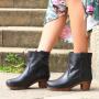 Sanita Juna Wooden Clog Boot in Embossed Leather Black