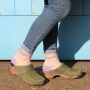 Classic Penny Clog Green Oiled Nubuck Leather on Brown Base