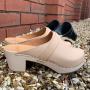 Elsa High Heel Classic Clog Natural Leather