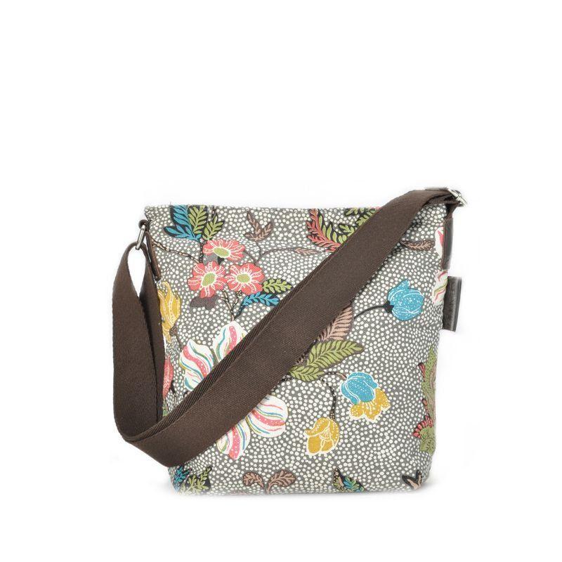 Ceannis Grey Flower Linen small Shoulder Bag