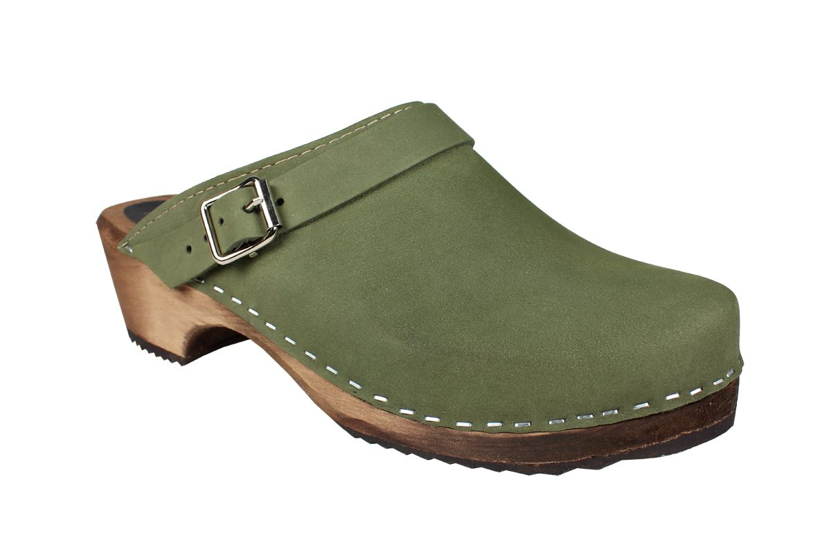 Classic Green Oiled Clogs with strap on Brown Base Seconds