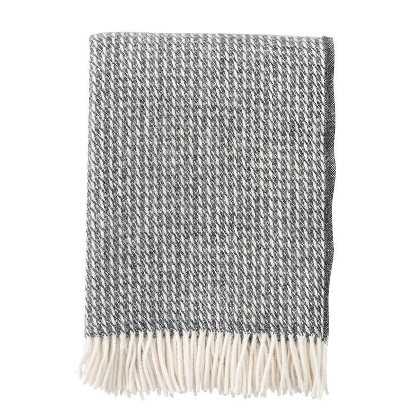 Klippan Line Dark Grey 100% Lambswool Blanket