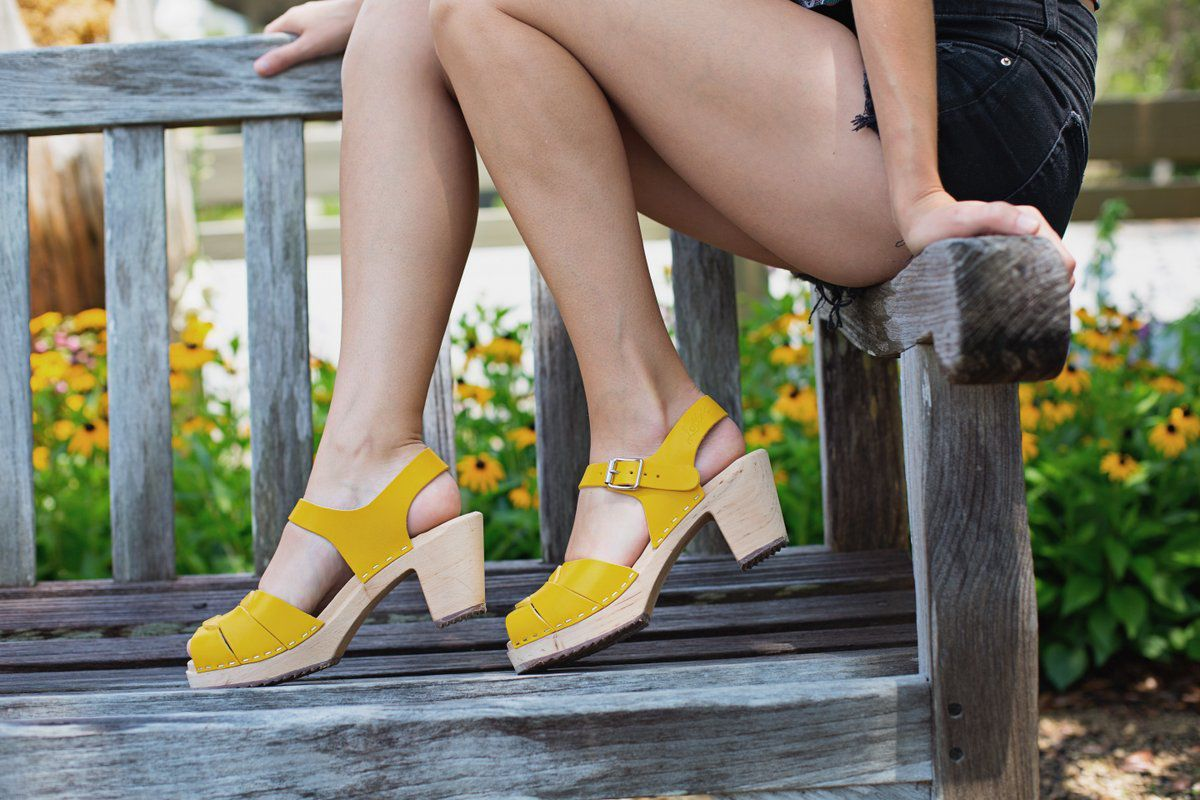 Peep Toe Clogs Summer Yellow