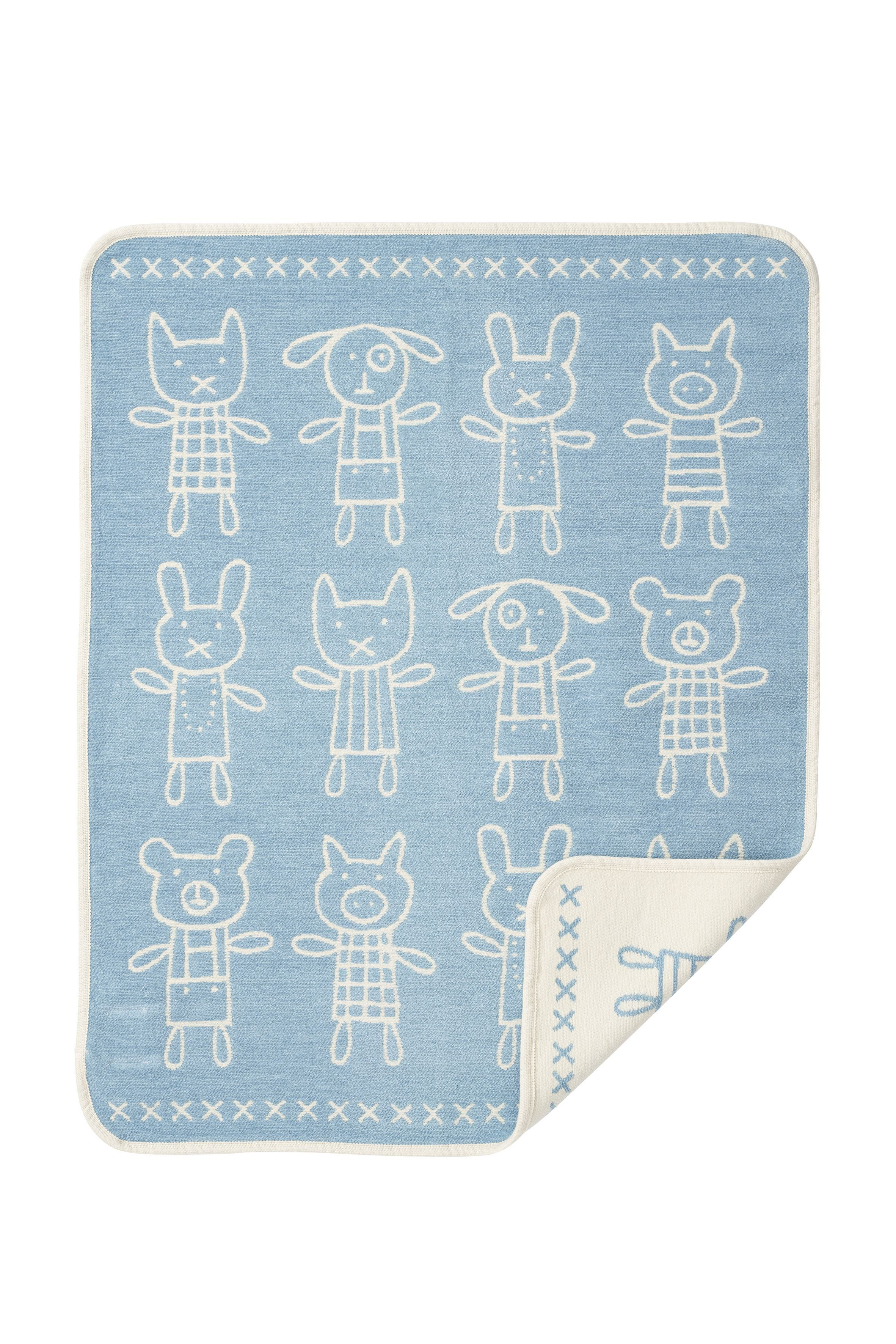 Klippan Kids' Hug Organic Cotton Chenille Blanket in Blue