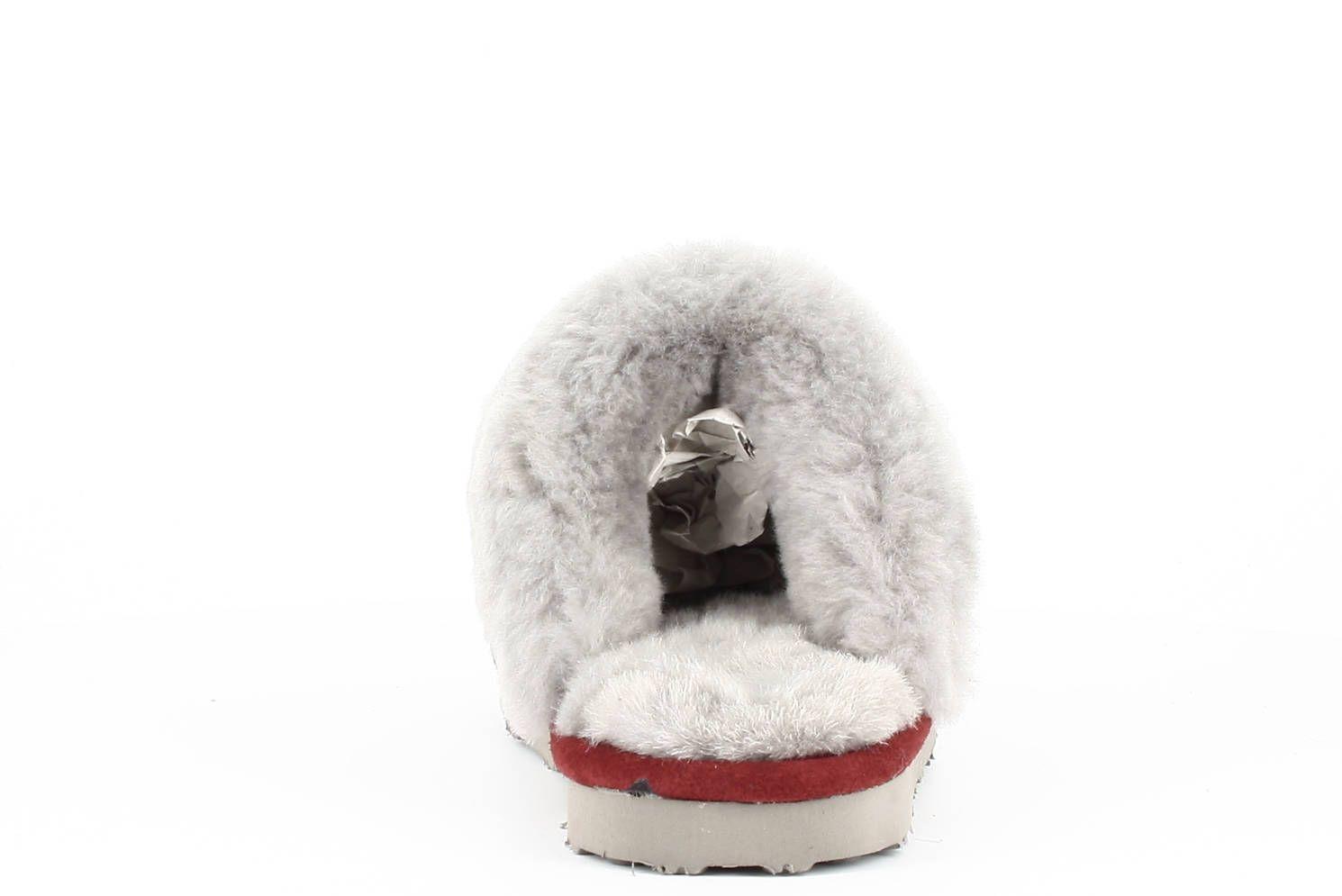 Sheepskin Nancy Mule Slippers in Wine with a Grey Fur Trim