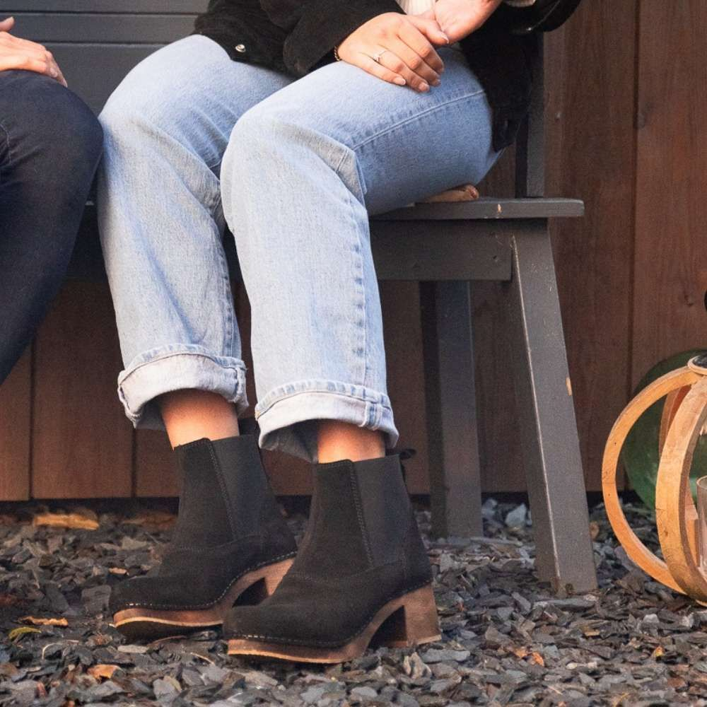Lotta's Ingrid Clog Boot in Black Oiled Leather