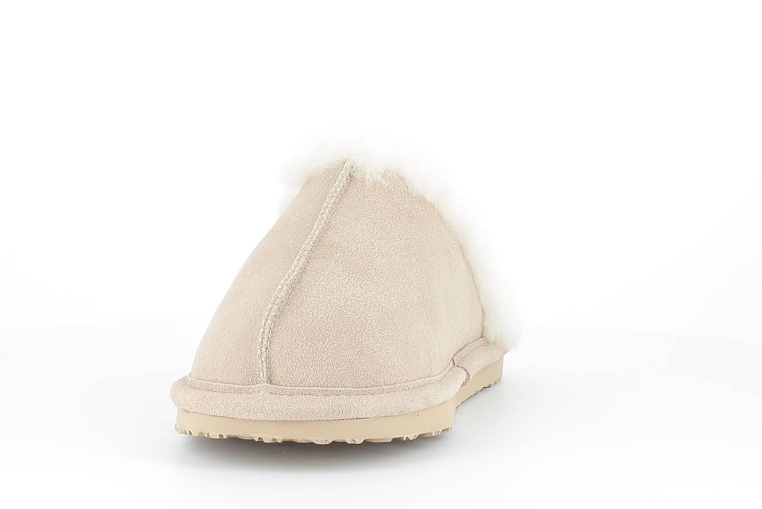 Sheepskin Torino Mule Slippers in Sand with Fur Trim