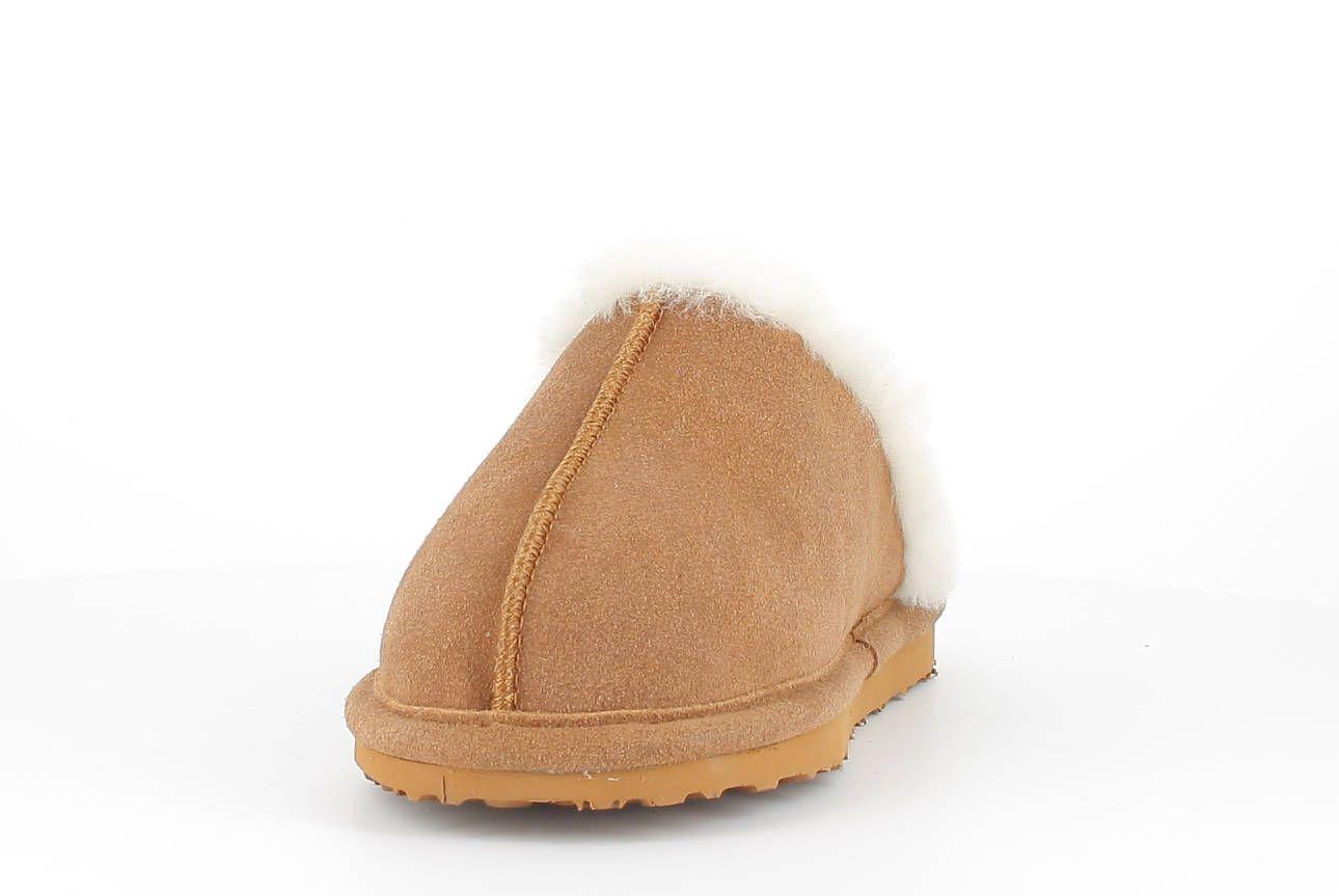Sheepskin Torino Mule Slippers in Chestnut with Fur Trim