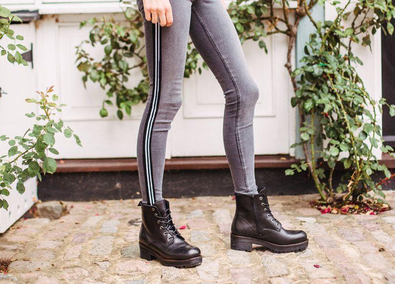 Ten Points Clarisse Black Chelsea Boot Lace-Up