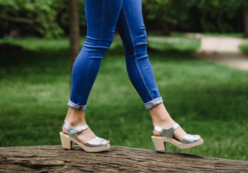 Peep Toe Clogs Silver