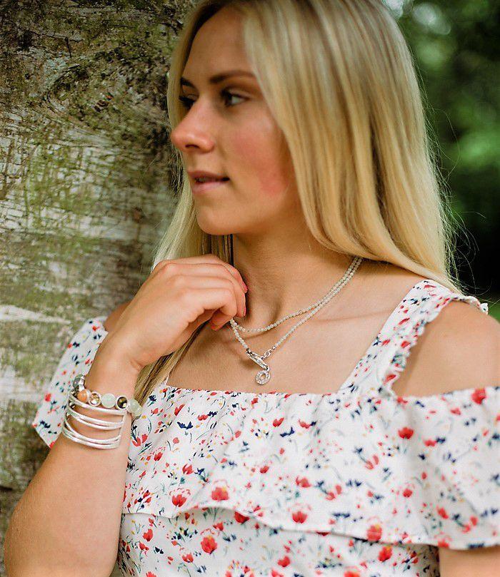 New Jade Aventurine Necklace Worn Silver