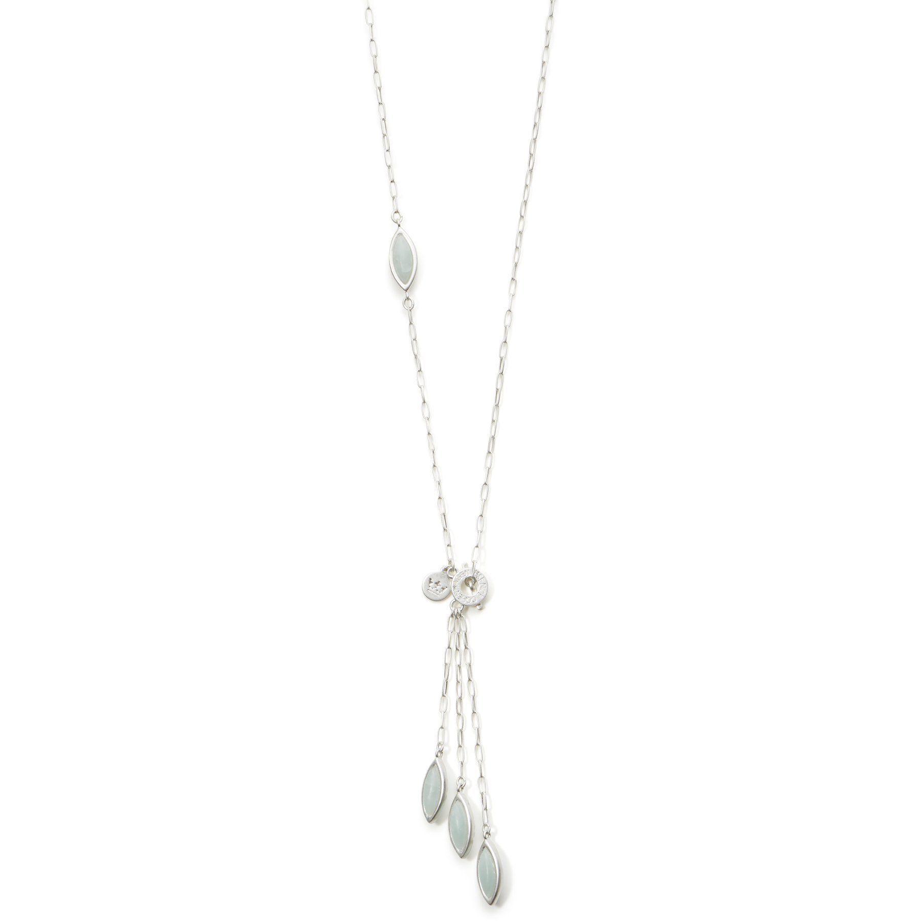 Sence Birch Necklace Aquamarine and Matt Silver