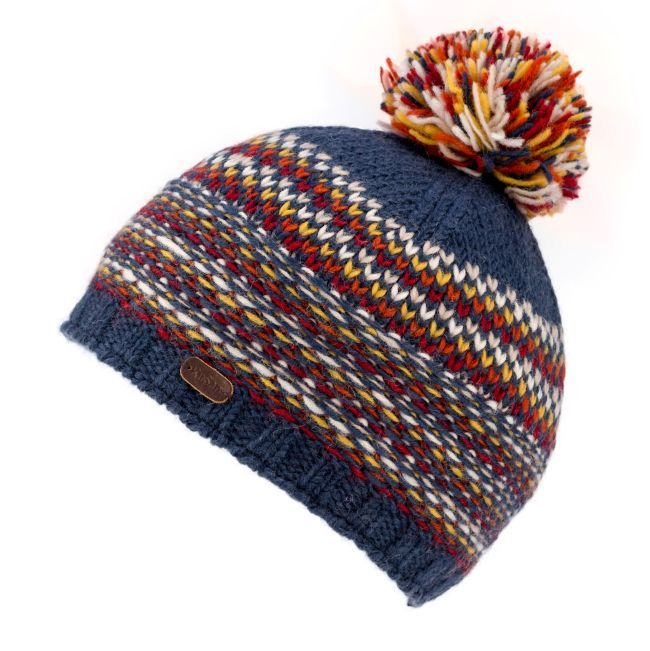 Kusan Tik Tik Bobble Hat in Navy and Orange