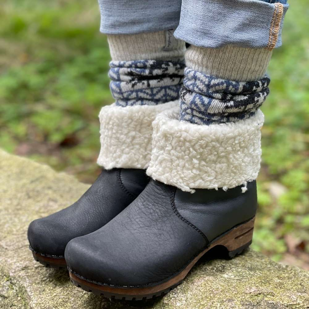 Lotta's Maje Clog Boot with Fur in Black Oiled Leather