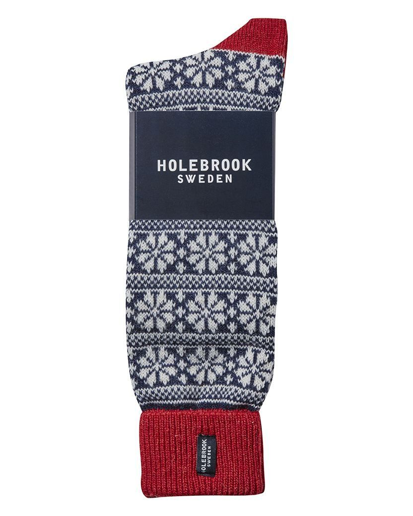 Holebrook Snowflake Raggsocka in Navy and Red