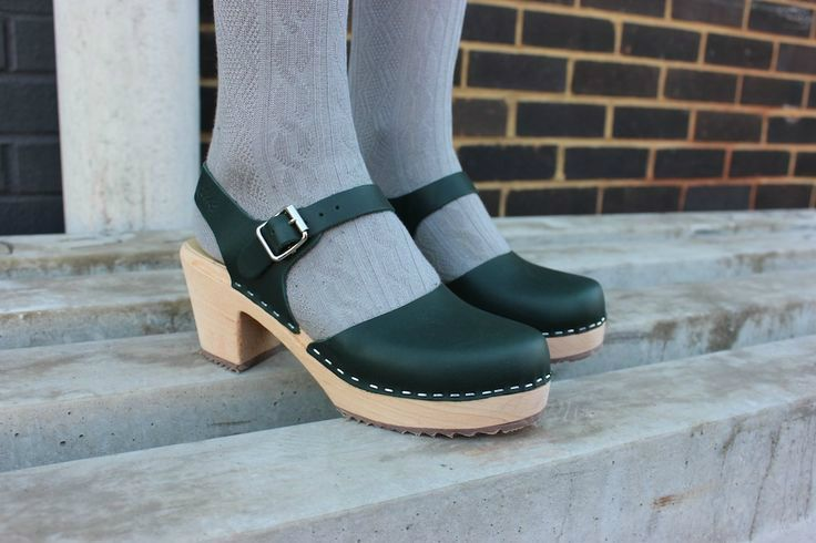 Lotta From Stockholm Highwood Dark Green Clogs style