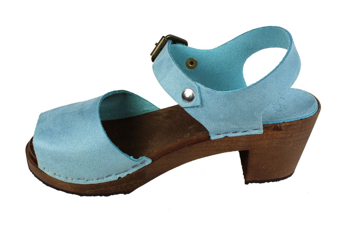 Alicia High Heel Open in Blue Stain Resistant Nubuck on Brown Base Seconds