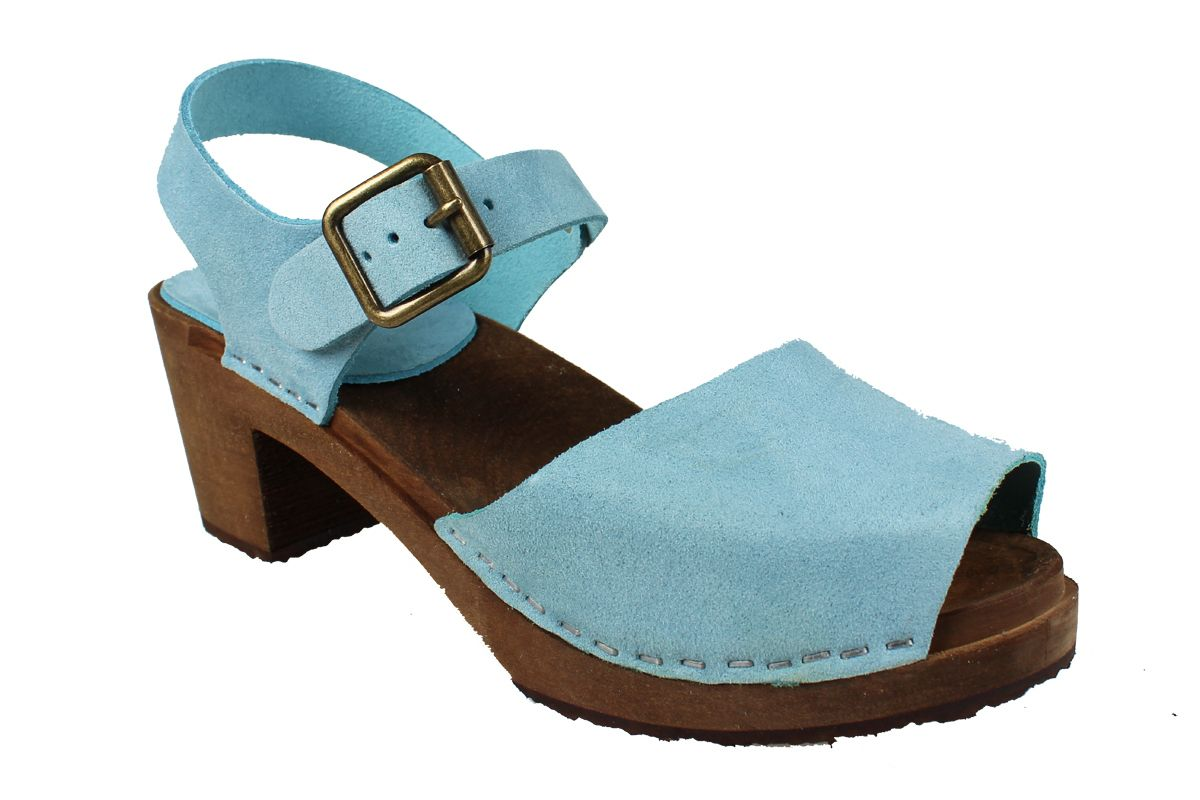 Alicia High Heel Open in Blue Stain Resistant Nubuck on Brown Base