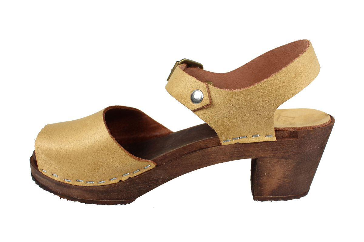 Alicia High Heel Open in Sand Stain Resistant Nubuck on Brown Base