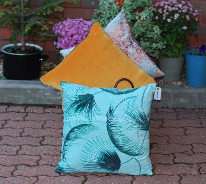 Bahne Velvet Square Cushion in Mustard