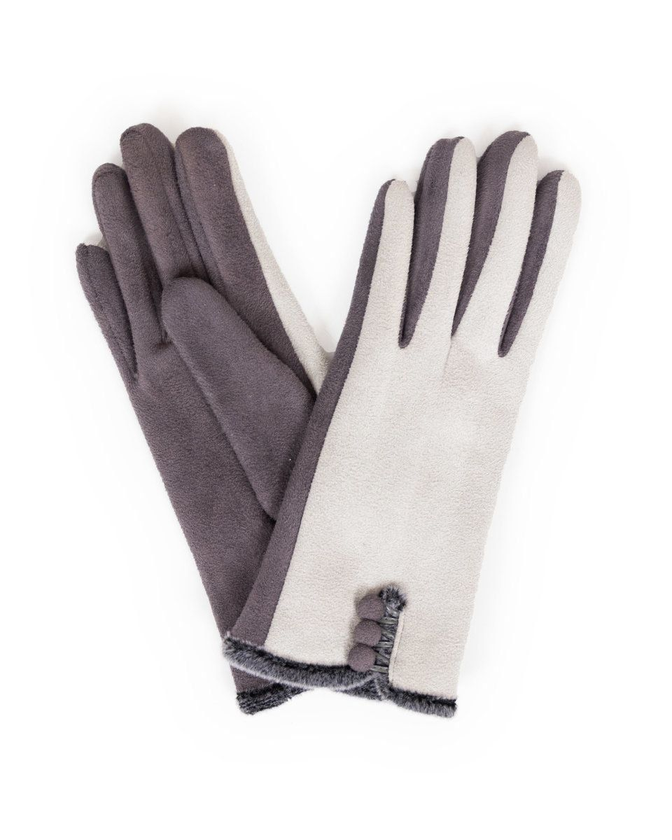 Powder Amanda Faux Suede Gloves in Charcoal and Slate