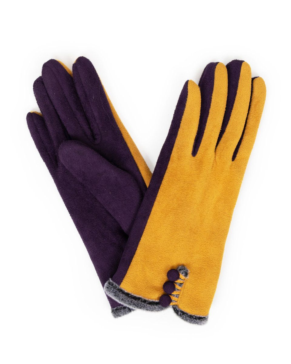 Powder Amanda Faux Suede Gloves in Damson and Mustard
