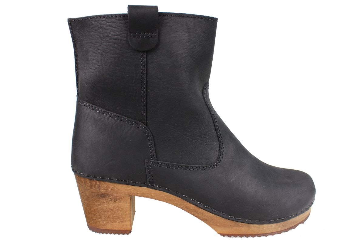 Lotta's Anna Clog Boot in Black Soft Oil Leather
