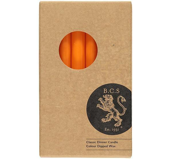 British Colour Standard- Tangerine Dinner Candles 6 per pack