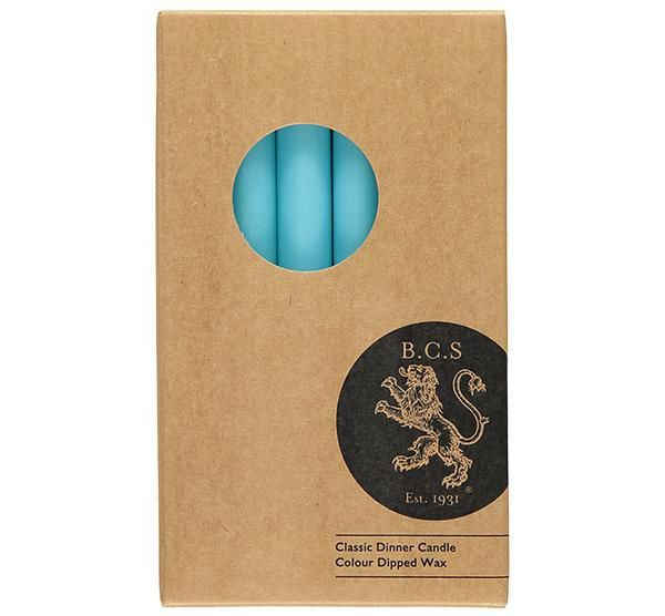 British Colour Standard- Turquoise Blue Dinner Candles 6 per pack