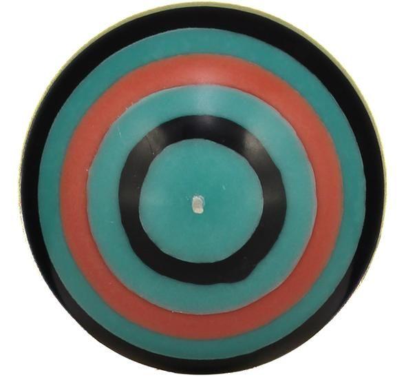 British Colour Standard- Large Striped Ball Candle - Honey Bird Blue, Jet Black, Jasmine & Rust. 10cm