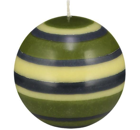 British Colour Standard-Large Striped Ball Candle - Olive, Indigo & Jasmine. 10cm
