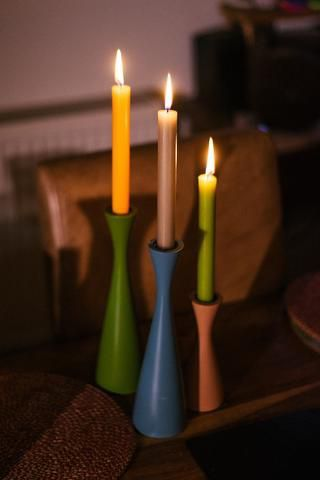 British Colour Standard- Small Olive Green Candleholder