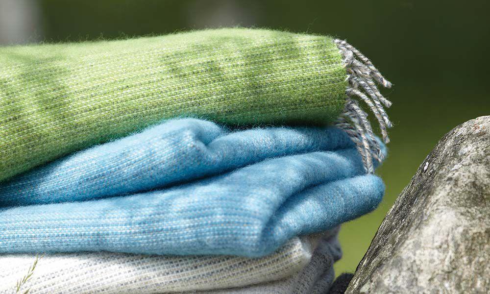 Klippan Björk Aqua 100% Lambswool Blanket