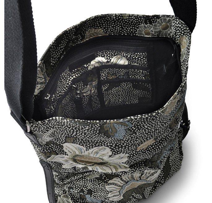 Ceannis Black Flower Linen Shoulder Bag