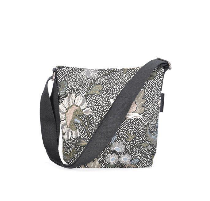 Ceannis Black Flower Linen Small Shoulder Bag