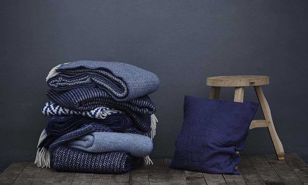 Klippan Björk Navy Blue 100% Lambswool Blanket