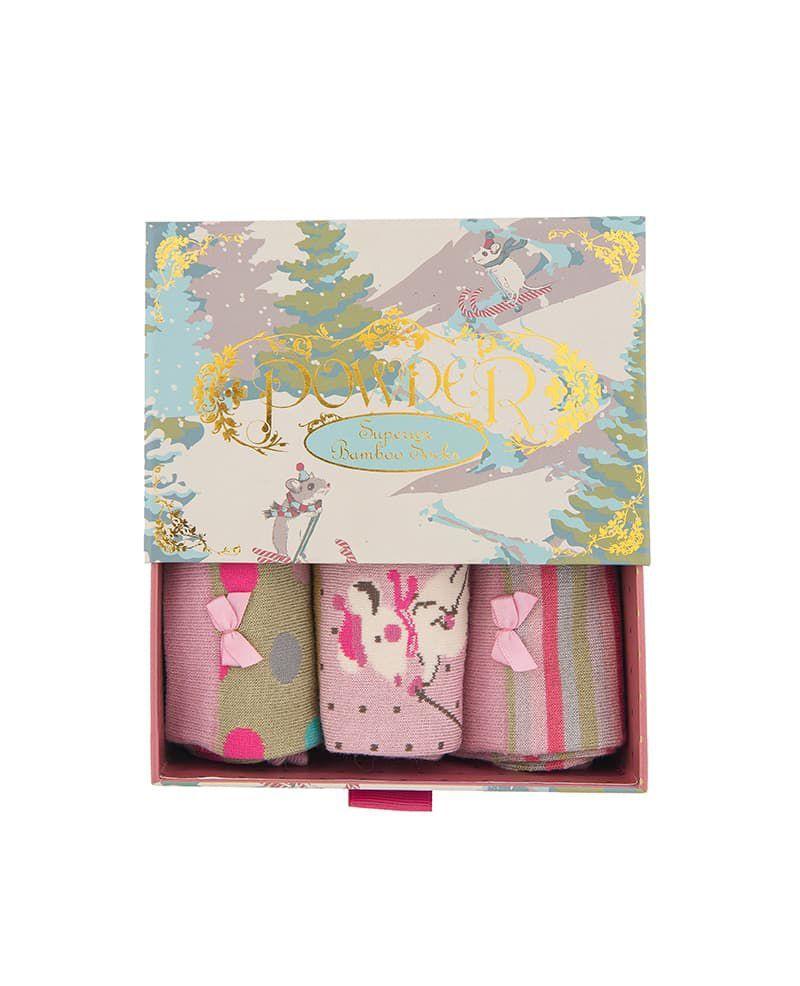 Powder Skiing Mouse Sock Gift Box