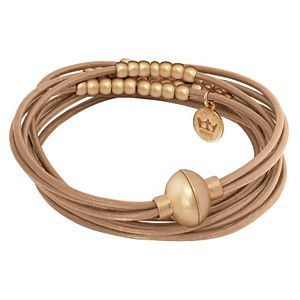 Signature Bracelet Taupe Worn Gold A905