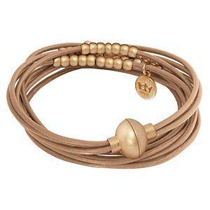 Signature Bracelet Taupe Worn Gold A905