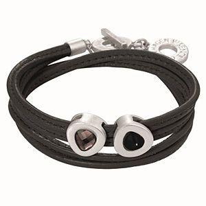 Sense Copenhagen Vienna Bracelet Black Leather and Worn Silver H041