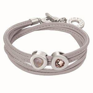Sense Copenhagen Vienna Bracelet Grey Leather and Worn Silver H043