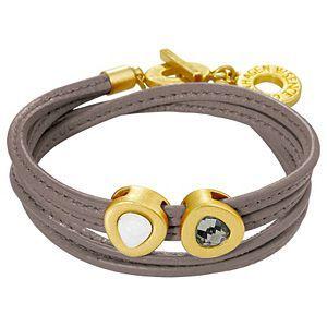 Sense Copenhagen Vienna Bracelet Taupe Leather and Worn Gold H657