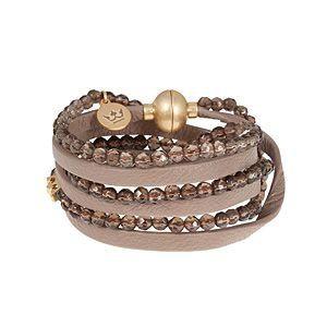 Party Soul Smokey Quartz Taupe Leather Bracelet
